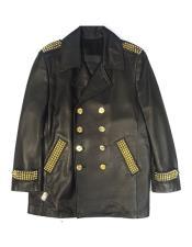 AP616 G-Gator - Studded Black Double-Breasted Leather Jacketc