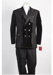 JSM-336 Mens Black Double Breasted Suit