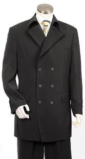 MQ2002 Double Breasted Fashion Suit Liquid Jet Black