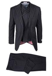 SM4756 Mens Wool San Giovesse Black Bold Pinstripe Full