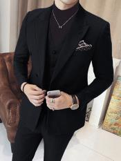 JSM-3322 Mens Black Vested Double Breasted 3 Piece Suits
