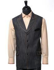 JSM-4837 Mens Double Breasted Black Denim Vegan Leather Detail