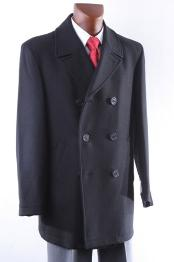 KA 9087 Double Breasted Luxury Wool Fabric Peacoat