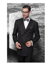 JSM-1279 Mens Statement Double Breasted Pinstripe Wool Italian Design