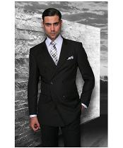 JSM-1289 Mens Statement Double Breasted Wool Italian Design Black