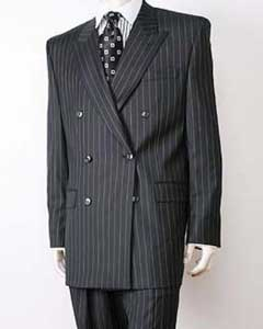 EC43 Liquid Jet Black Pinstripe Double Breasted Superior Fabric