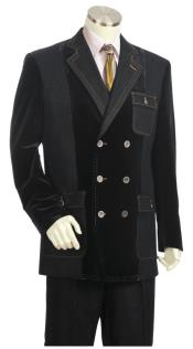 JA148 Mens Double Breasted Stitch Accent Zoot Suit Black