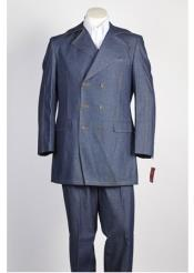 JSM-303 Mens Blue Double Breasted Suit with Pant