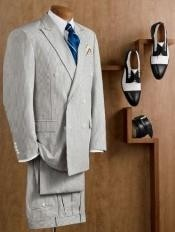HX9800 Double Breasted Blue Summer Seersucker Fabric Suit (Jacket