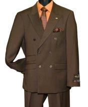 SD176 Mens Brown Peak Lapel 6 Button Double Breasted