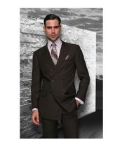 JSM-1287 Mens Statement Double Breasted Wool Italian Design Brown