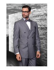 JSM-1277 Mens Statement Double Breasted Pinstripe Wool Italian Design