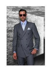 JSM-1288 Mens Statement Double Breasted Wool Italian Design Charcoal
