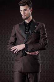 JSM-5002 Mens Chocolate Brown Slim Fit Double Breasted 1920s