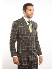 GD1237 Mens Double Breasted Peak Lapel Dark Green Plaid