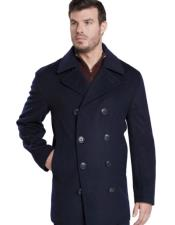 GD634 Mens Dark Navy Double Breasted Peak Lapel Overcoat