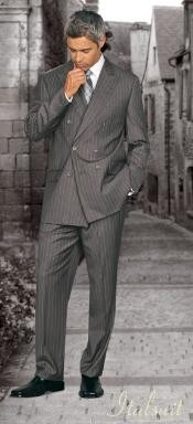JE278 Classic Double Breasted Gray Pinstripe Suit