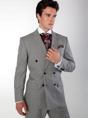 JS389 Mens Double Brested Gray Suit