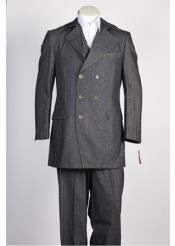 JSM-315 Mens Double Breasted Grey Black Suit