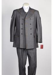 JSM-115 Mens Grey Fabric Double Breasted Suit Fashion Denim