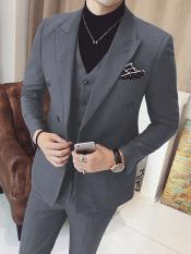JSM-3320 Mens Vested Double Breasted 3 Piece Grey Suits