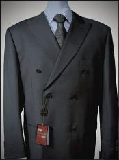 KA1566 Dark Grey Double breasted peak lapel Wool Fabric