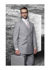 JSM-1291 Mens Statement Double Breasted Wool Italian Design Grey