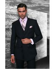 JSM-1280 Mens Statement Double Breasted Wool Italian Design Navy