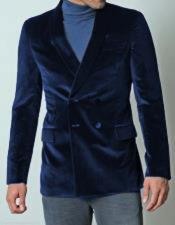 JSM-1035 Mens Double Breasted Dark Navy Blue Dinner Jacket