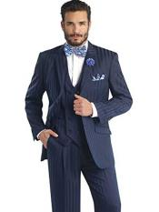 JSM-251 Mens Navy Double Breasted Vest Suit Shadow Striped