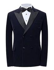 Mens Navy Peak Lapel