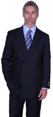 NAVY DOUBLE BREASTED Superior Fabric Fabric SUIT