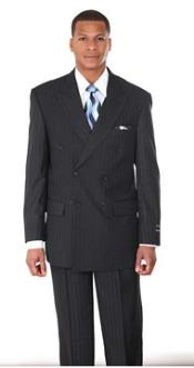 PN92 Double Breasted Pintstripe Suit Navy