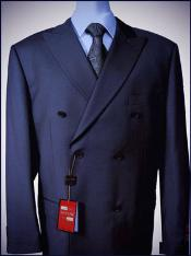 KA1654 Navy Double breasted peak lapel Wool Fabric falt
