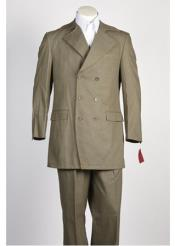 JSM-317 Mens Olive 6 Button Double Breasted Suit