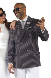 JSM-2692 Pinstripe ~ Stripe Double Breasted Blazer Sport Coat