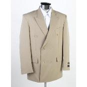 NJ2C9 New Double Breasted Tan khaki Color ~ Beige(Beige)