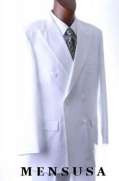 EmilC762 2pc SHARP Double Breasted DRESS SUIT Snow Solid