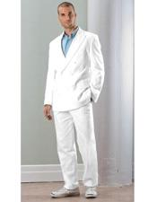 JSM-2723 Mens White Linen Double Breasted Suit (Blazer /