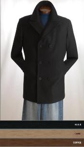 Pea Coat Wool Fabric Blend Double Breasted Broad Lapels