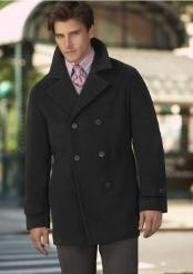 DS COAT08 Wool Fabric Pea Coat Wool Fabric Blend