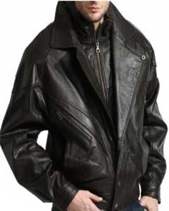 PN96 A Classic Double-Collared Leather Bomber Jacket In A