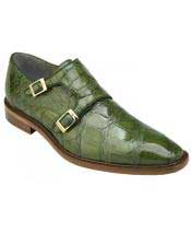 GD1749 Mens Pistachio Genuine Alligator With Double Monk Strap