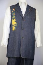 JA75 Mens Medieval Cloister Embroider Notch Lapel Navy Blue