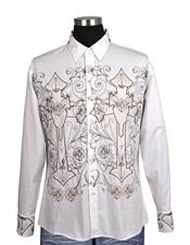 JSM-5658 Mens White 100% Cotton Button Closure Embroidered Design