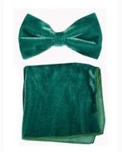 Velvet Bowtie with Hanky Emerald