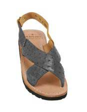 JSM-5322 Mens Blue-Jean Exotic Skin Sandals in ostrich or