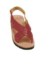 JSM-5324 Mens Burgundy Exotic Skin Sandals in ostrich or