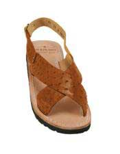 JSM-5326 Mens Cognac Exotic Skin Sandals in ostrich or
