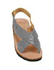 JSM-5328 Mens Gray Exotic Skin Sandals in ostrich or